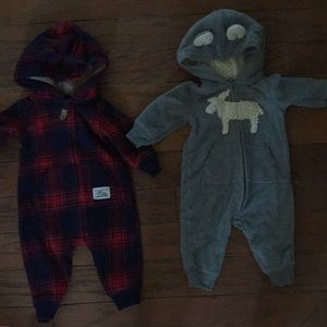 2 baby boys zip up outfits size 3 months